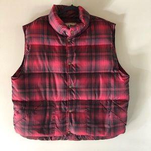 L.L. bean red/black plaid goose down vest XL